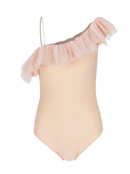 Body roz piersică Miss Selfridge cu volan din tulle