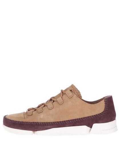 Pantofi sport bej cu burgundy Clarks Trigenicflex