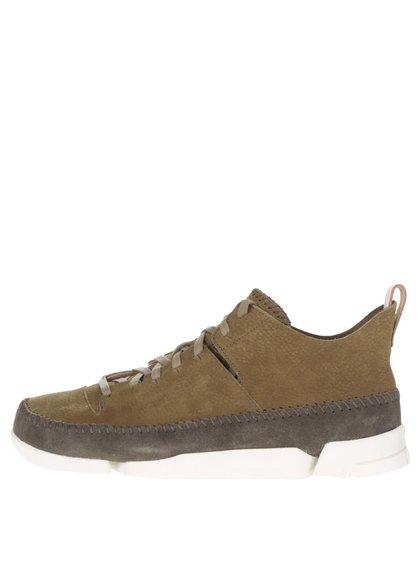 Zelené pánské semišové kotníkové boty Clarks Trigenicflex