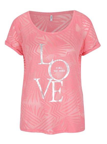 Tricou roz ONLY Dare cu imprimeu