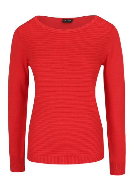 Červený žebrovaný svetr VILA Sesse