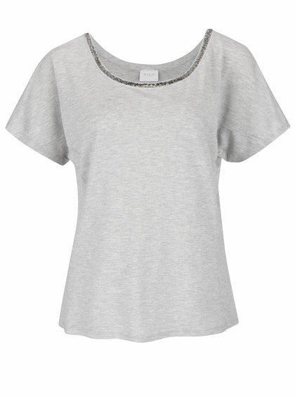 Šedé žíhané tričko s korálkovou aplikací VILA Dango