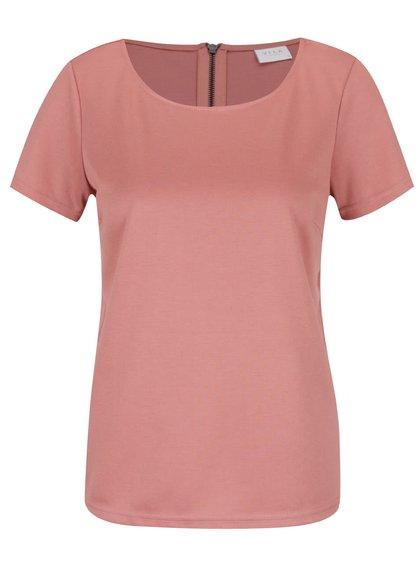 Tricou roz pal VILA Tinny cu fermoar