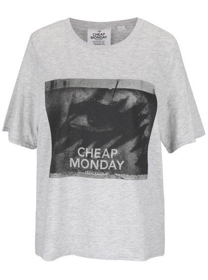 Tricou gri melanj Cheap Monday cu print