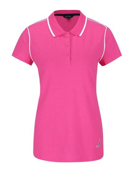 Tricou polo roz Nautica din bumbac cu detalii albe și logo