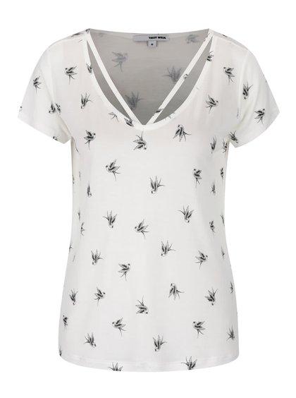 Krémové vzorované tričko TALLY WEiJL