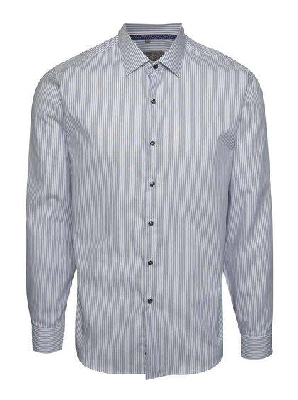 Bílo-modrá pruhovaná slim fit košile Seven Seas Palermo