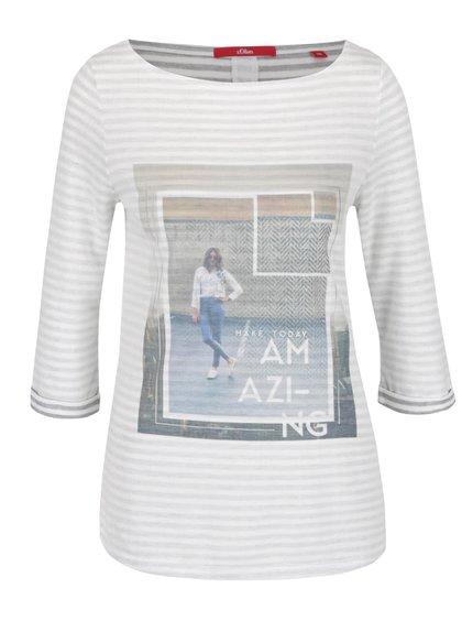 Bluză crem s.Oliver cu print și model în dungi orizontale