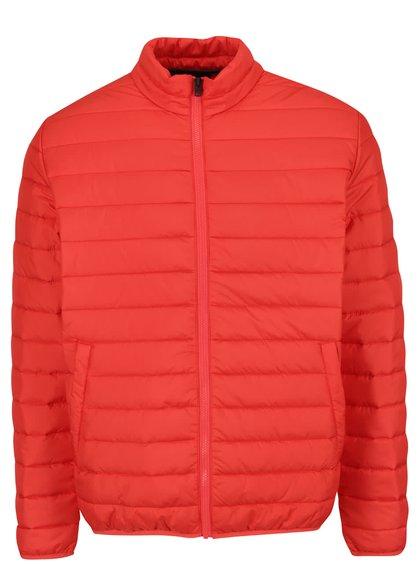 Jachetă matlasată roșie Jack & Jones Addy cu guler înalt