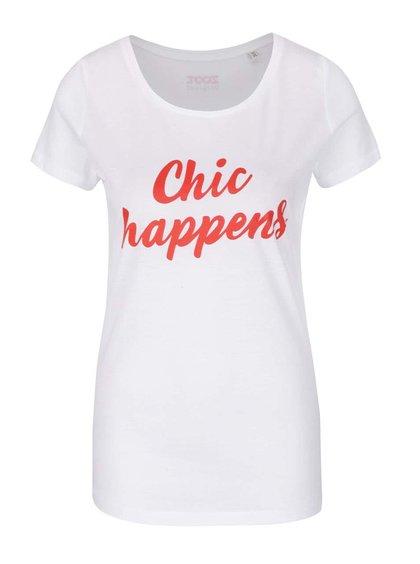 Tricou alb ZOOT Original Chic happens din bumbac organic