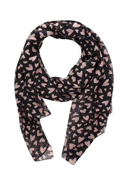 Černý šátek s potiskem srdcí Pieces Avonja