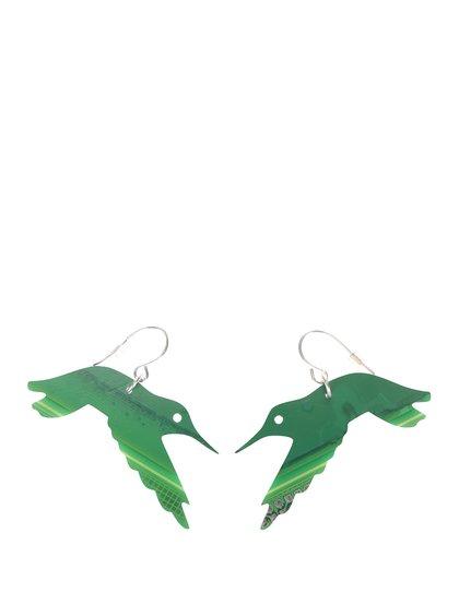 """""""Dobré"""" zelené náušnice Trash Made Kolibříci pro Člověka v tísni"""
