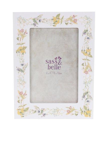 Krémový květovaný fotorámeček Sass & Belle