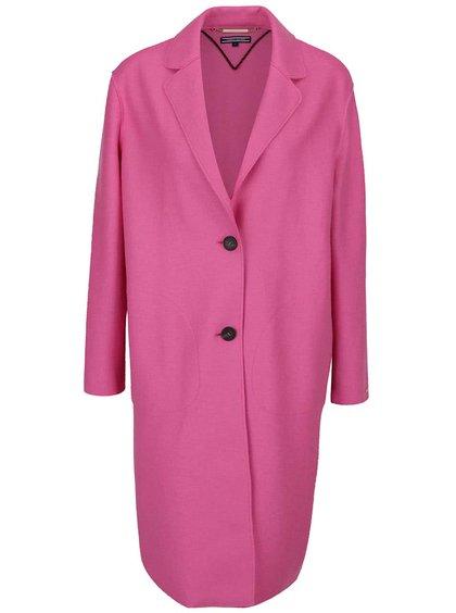 Růžový vlněný kabát Tommy Hilfiger