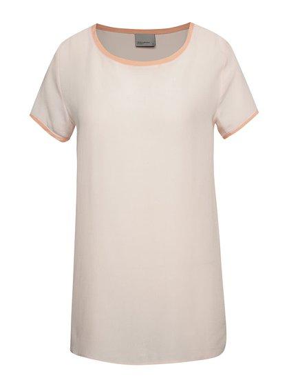 Tricou roz pal VERO MODA Callie cu detalii în contrast