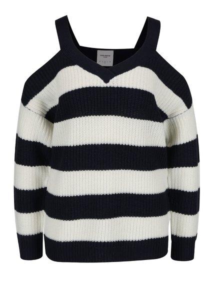 Modro-bílý pruhovaný svetr s průstřihy na ramenou VERO MODA Sibbo