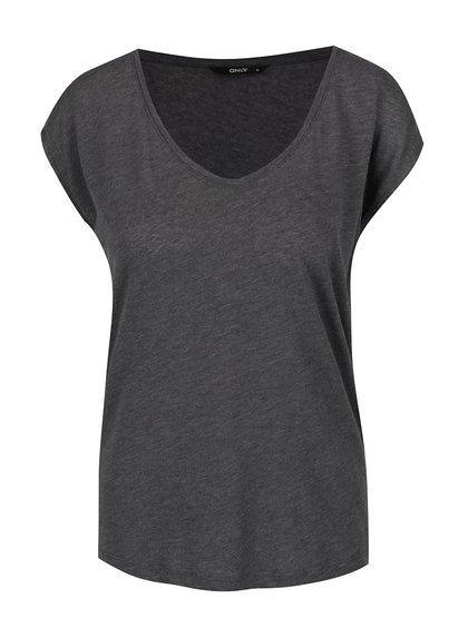 Tmavě šedé basic tričko ONLY Casa