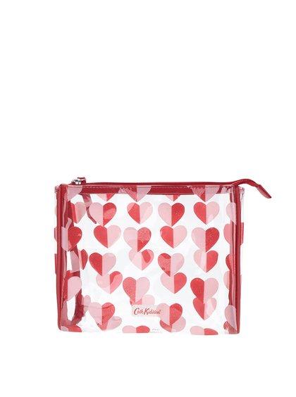 Geantă transparentă pentru cosmetice Cath Kidston cu model cu inimioare roșii