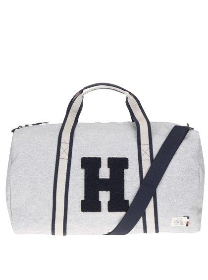 Modro-šedá pánská cestovní taška s nášivkou Tommy Hilfiger