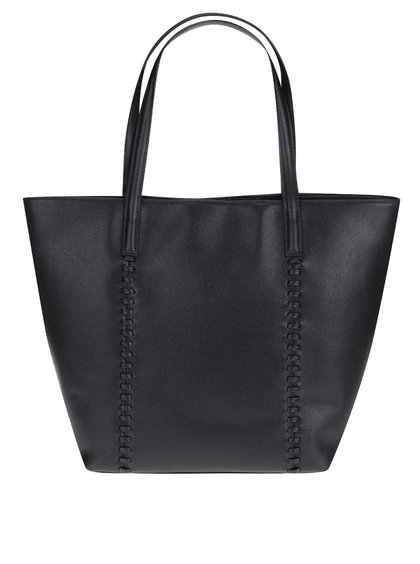 Černý koženkový shopper s ozdobným prošíváním Pieces Mary