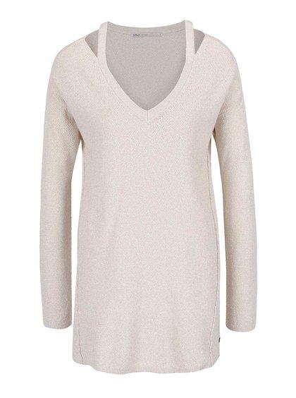 Béžový svetr s průstřihy na ramenou ONLY Grace