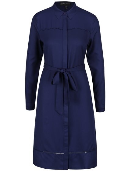 Rochie cămașă lungă albastru închis Mela London cu detaliu