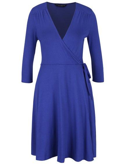 Modré šaty s překládaným dekoltem Dorothy Perkins
