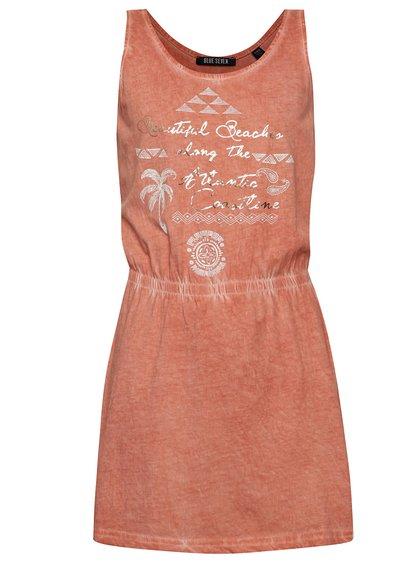 Rochie roșu melanj Blue Seven din bumbac cu print