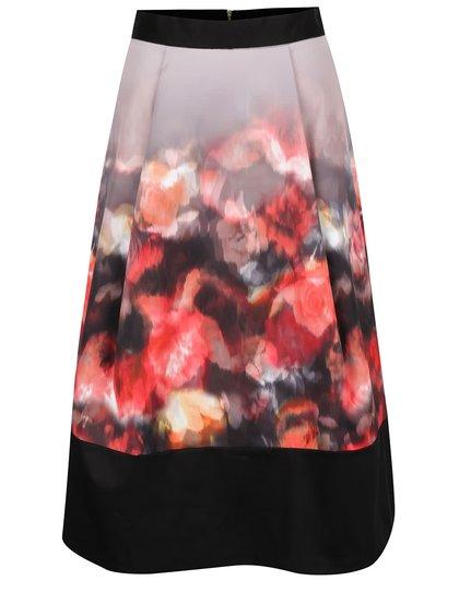 Červeno-černá vzorovaná midi sukně Closet