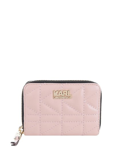 Světle růžová kožená prošívaná peněženka KARL LAGERFELD