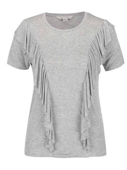Šedé tričko s volánky Miss Selfridge
