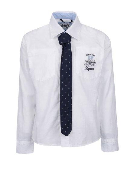Cămașă albă North Pole Kids din bumbac cu print și cravată albastru închis cu model