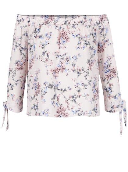 Bluză roz cu model Miss Selfridge Petites cu decolteu pe umeri