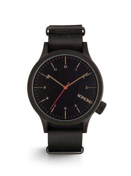 Černé unisex hodinky s koženým páskem Komono Magnus