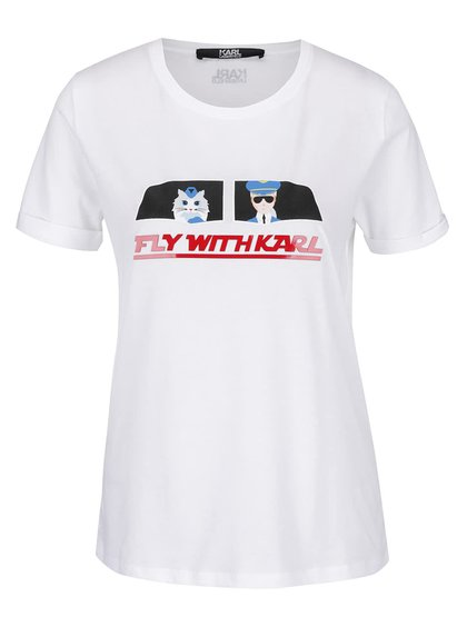 Bílé tričko s plastickým nápisem a potiskem KARL LAGERFELD