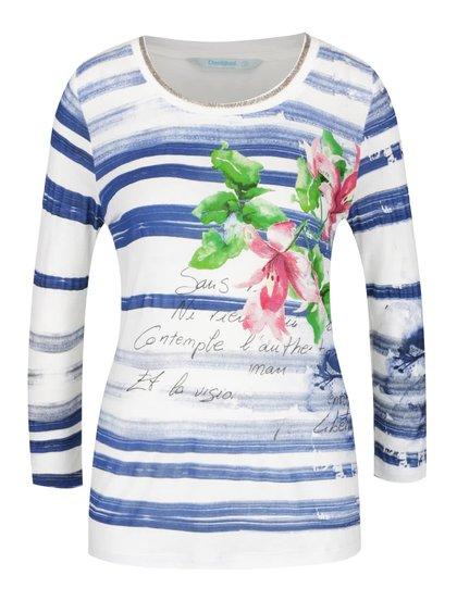 Bluză crem & albastru Desigual Mayo cu model în dungi și print
