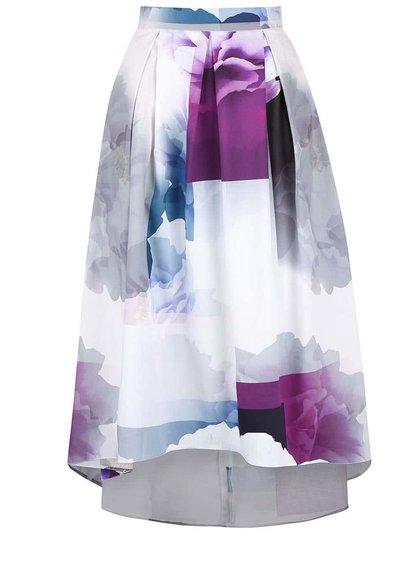 Krémová midi sukně s fialovo-šedými květy Closet