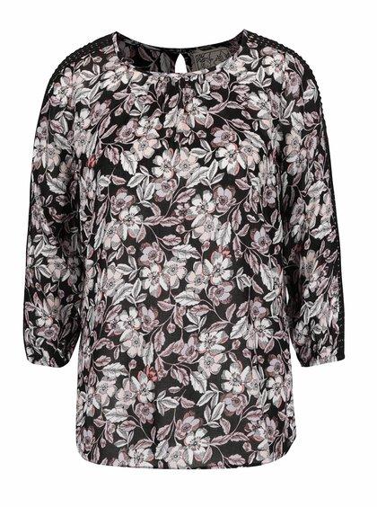 Bluză neagră M&Co cu model floral și detalii