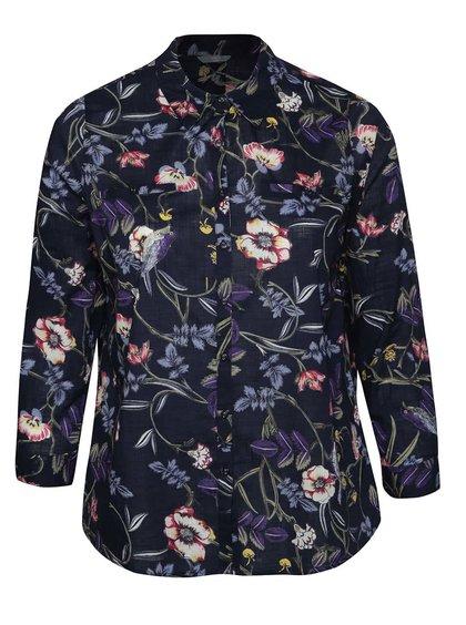 Tmavě modrá dámská květovaná košile M&Co