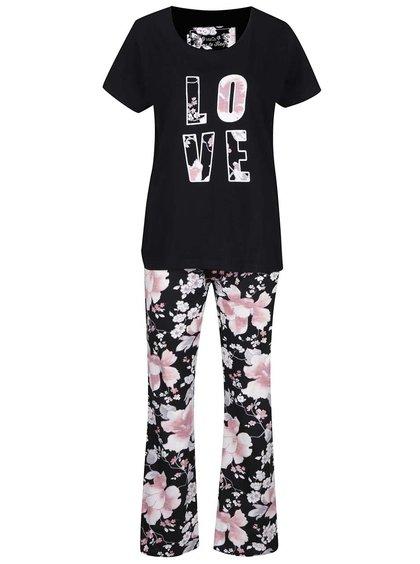 Černé dámské květované pyžamo Love M&Co