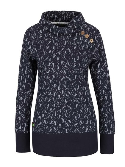 Bluză albastru închis Ragwear Nest A Organic cu model și guler înalt