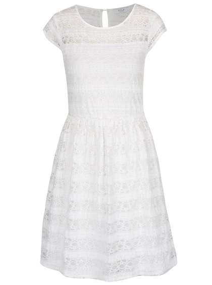Rochie alb fildeș VILA Kania din dantelă