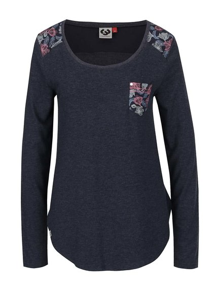 Bluză gri închis Ragwear Ciel cu detalii cu model floral