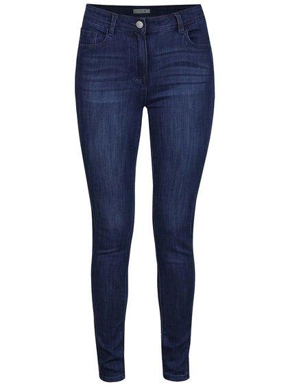Modré dámské džíny s vyšisovaným efektem M&Co