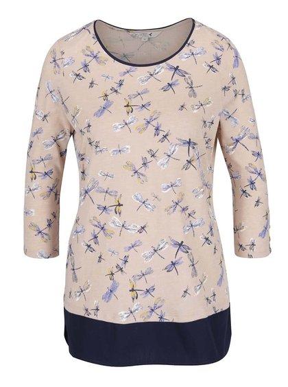 Bluză bej & albastru M&Co cu model și mâneci trei sferturi