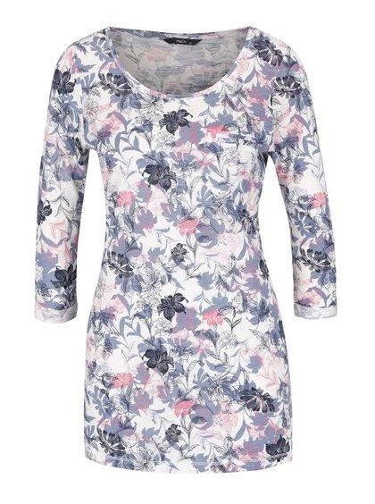 Modro-krémové dámské květované tričko s 3/4 rukávem M&Co
