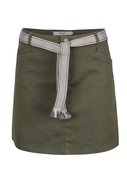 Khaki krátká sukně s páskem VERO MODA Shany