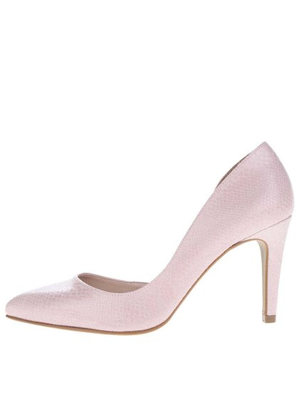 Pantofi roz deschis OJJU cu model piele de șarpe cu aspect lucios