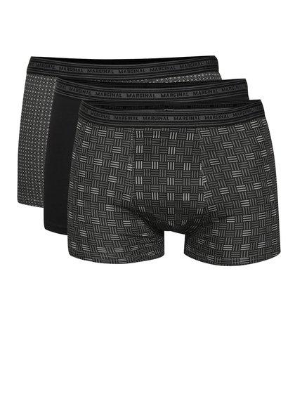 Sada tří boxerek v černé a šedé barvě Marginal