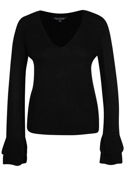 Černý svetr s volány na rukávech Miss Selfridge